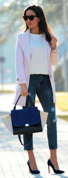 ~ Lifestyle of a Bachelorette! ~ *Pink And Navy Chic Mix Winter Outfit