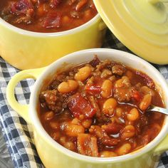 Hearty Baked Beans from bacon, ground beef, sausage, onion, bell pepper, pork and beans, barbecue sauce, ketchup, mustartd, Worcestershire sauce, soy sauce and brown sugar