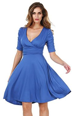 Meaneor Womens Short Sleeve V-Neck Ruched Bust Chiffon Party Dress Blue S Meaneor http://www.amazon.com/dp/B00Y2SIAHQ/ref=cm_sw_r_pi_dp_5XzYvb1G36T17