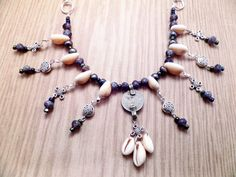 Tribal Style Belly Dance Coin and Cowrie Shell Necklace Purple and Silver with Celtic Knots