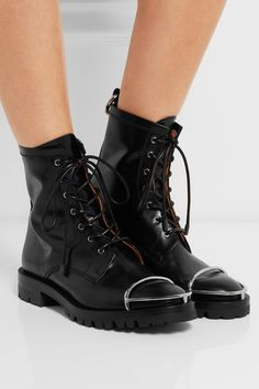 Heel measures approximately 15mm/ 0.5 inches Black leather   Lace-up front Made in Spain
