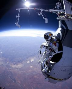 A long way to fall: Felix Baumgartner prepares to jump from 90,000ft during the first manned test flight for Red Bull Stratos over Roswell, New Mexico