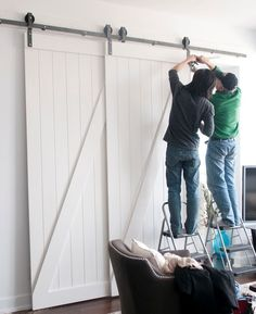 Single Track Bypass System - Sliding Barn Door Hardware kit for 2 doors on one track - The Barn Door Hardware Store
