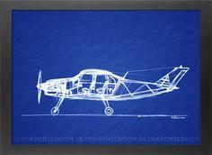 Digitally altered blueprint of my original handmade pen sketch of a small passenger propeller-driven airplane.