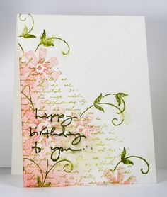 Stamps: Letter Background, Posies, …to you (Penny Black)   Inks: Pirouette Pink, Regal Rose, Old Olive, Always Artichoke (SU)   Cardstock: MFP Watercolour card stock