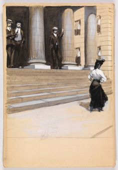 Study of Figures on Steps of Colonnaded Building,  Edward Hopper, circa 1900