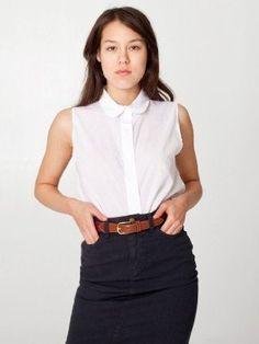Amazon.com: American Apparel Sleeveless Lawn Crop Button-Up: Clothing