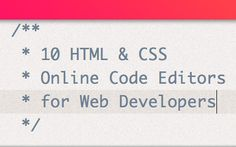 10 HTML & CSS Editors