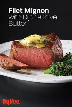 Serve your Hy-Vee Choice Reserve center-cut filets in style with a melt-on-your-steak homemade Dijon-chive butter. Chicken And Veggie Recipes, Beef Recipes, Filet Steak, Center Cut, Fresh Chives, Beef Tenderloin, Good Burger, Recipe Using, Sauces