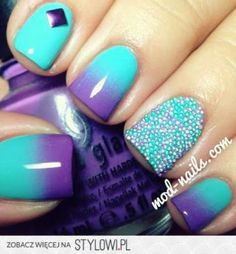 Purple and turquoise ombre with caviar accent nail.  This is a favourite colour combination of mine.