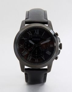 Fossil Grant Leather Watch In Black - Black