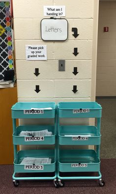 Classroom organization:    Turn an IKEA kitchen cart (Raskog) into an assignment cart. Ditch those dusty plastic desktop organizers/letter trays and substitute for one of these movable carts.       Save time by establishing the routine that students turn in or collect graded assignments to and from their designated cart. No need to waste time collecting or handing back homework. Students eventually get into the habit that they turn in their work even before the bell rings.