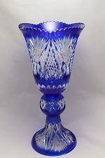 CAESAR CRYSTAL BOHEMIAE LEAD CUT VASE BOHEMIAN CZECH COBALT BLUE GLASS