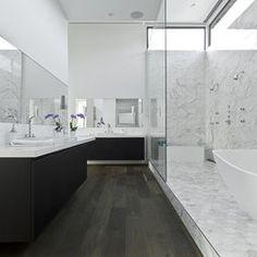 Calacatta Marble and faux bois floor