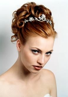 Bride Hairstyle, Small Curls With Headpiece, Red