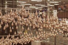 Copper Rain Falls In Singapore's Changi Airport