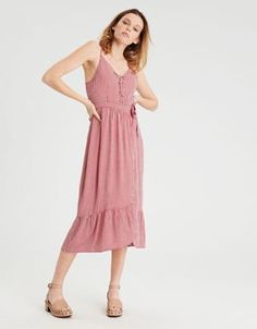 AE Lace Up Wrap Midi Dress by  American Eagle Outfitters | Lace it up, make it yours.Lace it up, make it yours. Shop the AE Lace Up Wrap Midi Dress and check out more at AE.com.