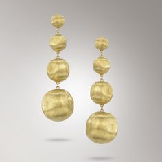 Marco Bicego 18K yellow gold earrings, hand engraved with the time-honored Bulino technique
