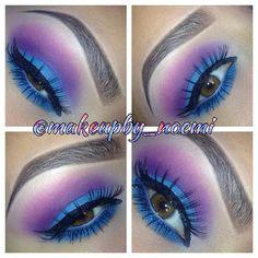 Photo by makeupby_noemi • Instagram find me on Instagram for more looks! @makeupby_noemi •Blue purple eyeshadow smokey eye hazel eyes bhcosmetics bh cosmetics palette eyebrows makeup