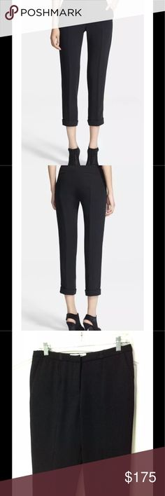 """Elizabeth and James Harlow Slim Crop Trouser Pants ELIZABETH AND JAMES """"Harlow"""" Trousers/Pants, size 4 Black New $365 SOLD OUT Gamine crop trousers boast pickstitched center seams that highlight the slim-cut legs before ending in cuffed hem, Belt Loops Zip fly with hook-and-bar closure. Front slant pockets; back welt pockets 100% polyester with 55% viscose, 41% acetate, 4% nylon trim. Dry clean. By Elizabeth and James; imported.  Measurements Lying Flat - Not Stretched or Doubled Waist…"""