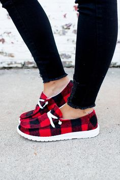 Plaid Printing Delicate red Lady Flat Bottom Casual Shoes Sneakers Print Running Shoes