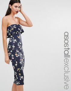 TALL - Modello a fascia con stampa e ruches blu navy a fiori 2d37c95402d3