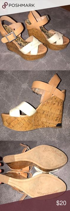 Sam Edelman wedges size 7.5 7.5 women's wedge Cork wedge  White and beige coloring Like brand new Sam Edelman Shoes Wedges