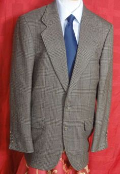 Oscar De La Renta Mens Glen Plaid 2 Button Wool Sport Coat Size 40L #OscardelaRenta #TwoButton