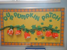 """Our Pumpkin Patch"" bulletin board.   The pumpkins were made by the students using a paper bag stuffed with newspaper.  It was then tied with green curling ribbon and painted orange.  The vine was made using green bulletin board paper.  I wrote the children's names on construction paper leaves and tied them to the curling ribbon before attaching them to the vine."