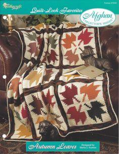 Crochê Folhas Afegão Malha itens decorativos Criações de outono  Colecionador -  /   Crocheting Autumn Leaves Afghan Collector's  Knit Knacks Creations -