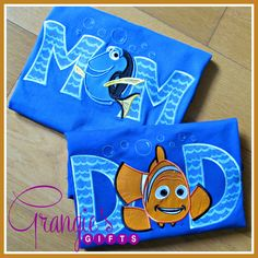 Personalized Custom Finding Dory & Nemo MOM AND DAD T-Shirt Package by GrangiesGifts on Etsy https://www.etsy.com/listing/474702686/personalized-custom-finding-dory-nemo