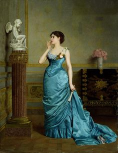 Auguste Toulmouche (September 1829 – October was a French painter known for his luxurious portraits of Parisian women. Victorian Evening Gown, Victorian Ball Gowns, Edwardian Gowns, Evening Gowns, Vintage Outfits, Vintage Gowns, Vintage Fashion, Victorian Outfits, Vintage Clothing