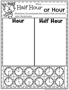 Hour or Half Hour Clocks – Time Worksheets for Kids. Telling Time Activities, Teaching Time, Math Activities, Money Worksheets, School Worksheets, Clock Worksheets, First Grade Math Worksheets, Math Classroom, Kindergarten Math