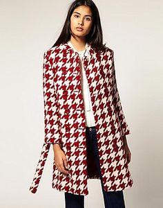Kookai Red Dogtooth Coat