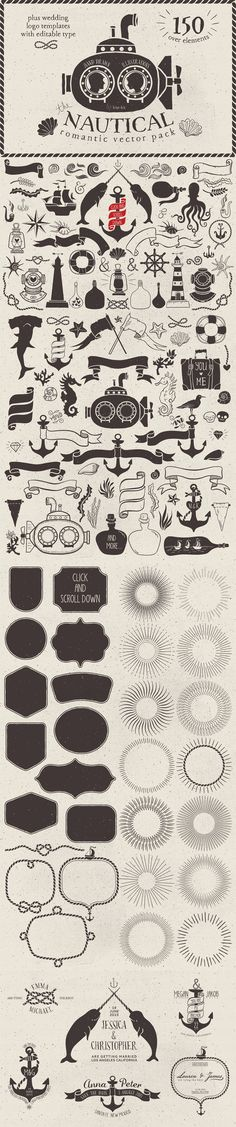 Comprehensive, Creative Vectors Bundle of Varied Vectors Nautical Romantic Vector Pack by Kite Kit Art And Illustration, Brainstorm, Grafik Design, Doodle Art, Doodle Ideas, Clipart, Vector Design, Design Elements, How To Draw Hands