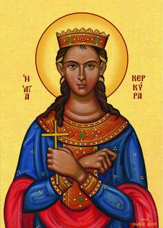 Kerkyra the Princess Martyr by Georgia Lellou Religious Icons, Religious Art, Byzantine Icons, Orthodox Christianity, Art Icon, Orthodox Icons, Ikon, Celestial, Georgia