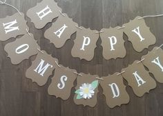 Happy Mother's Day banner - Brown kraft and white mother's day bunting - custom mothers day banner