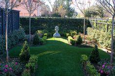 French Gated Enclave - Lanson B. Modern Landscape Design, Modern Landscaping, Landscaping Tips, Abstract Landscape, Landscape Architecture, Garden Landscaping, Synthetic Lawn, Corner Garden, Flagstone Patio