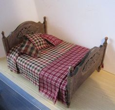 Bed Double  country style  dollhouse by Insomesmallwayminis