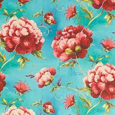 Behang, turquiose met grote bloemen