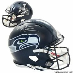 73a242247d6 Riddell Russell Wilson Seattle Seahawks Super Bowl XLVIII Champions  Autographed Pro-Line Authentic Helme Seahawks