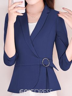 Ericdress Plain Belt Jacket - Outfits for Work - Business Outfits for Work Summer Business Outfits, Fall Outfits For Work, Cute Dresses For Party, Jackets For Women, Clothes For Women, Beautiful Blouses, Winter Fashion Outfits, Work Attire, Blouse Designs