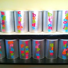 Baby formula containers turned craft  storage. :)
