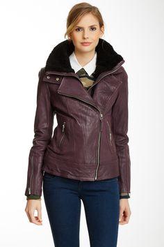 Veruca Leather Moto Jacket by Mackage on @nordstrom_rack ... in burgandy please ^_^