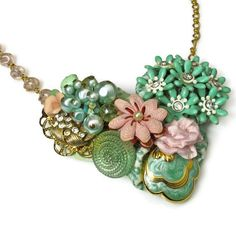 Pink Green Necklace, Vintage Wedding Necklace, Repurposed Jewelry. $56.00, via Etsy.