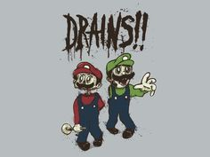 Zombie humor Mario and Luigi drains and brains Mario And Luigi, Mario Bros, Mario Brothers, Nintendo 3ds, Wii U, Geek Out, Zombie Apocalypse, Shtf, Make Me Smile