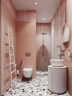 Pink bathroom with terrazzo floor // vintage inspired pink bathrooms Bathroom Tile Designs, Bathroom Interior Design, Modern Bathroom, Bathroom Ideas, Minimalist Bathroom, Toilet Tiles Design, Funky Bathroom, Colorful Bathroom, Bathroom Stuff