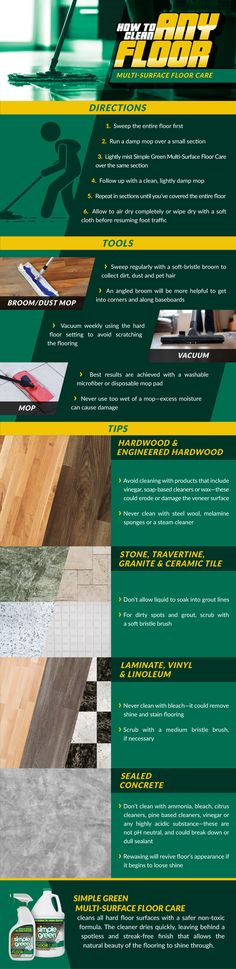 Dirt and debris act as abrasives and can scratch finishes, leaving the flooring susceptible to damag - Trend Natural Cleaning Recipes 2019 Household Cleaning Tips, Household Cleaners, House Cleaning Tips, Green Cleaning, Spring Cleaning, Cleaning Hacks, Cleaning Supplies, Floor Cleaning, Natural Cleaning Recipes