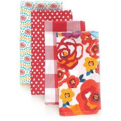 The Pioneer Woman Flea Market Red 4-Pack Napkin $4.97! Thinking The Napkins would make Really Nice Kitchen Curtain's!