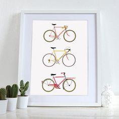 Bike Art Print Bicycle Poster Wall Art by wyatt9dotcom on Etsy
